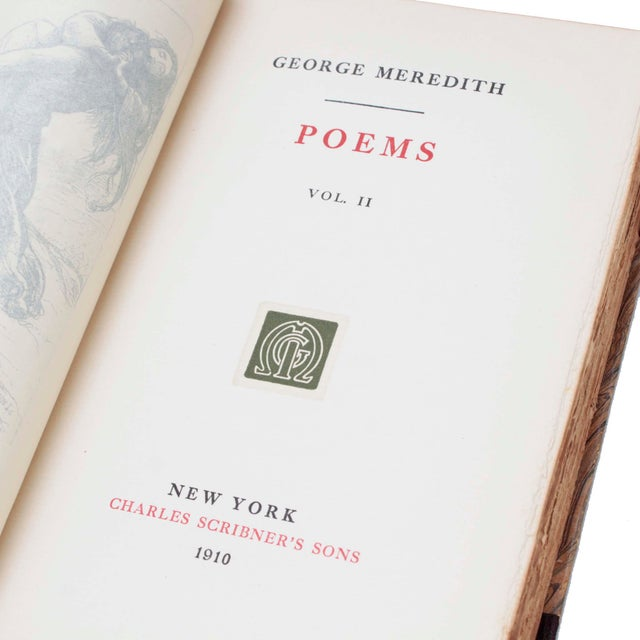 """Leather Books, """"Works of George Meredith"""" From 1912, Set of 20 For Sale - Image 4 of 7"""