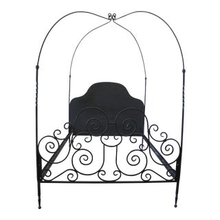 Custom Black Iron Queen Size Canopy Bed For Sale