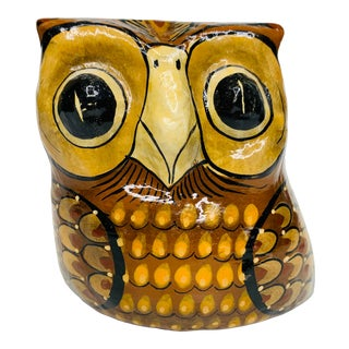 Vintage 1960s Sermel Tonala Jal Mexico Folk Art Paper Mache Owl Sculpture For Sale