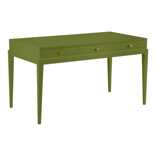 Hayes Desk, Timson Green, Rectangle Brass Pulls For Sale