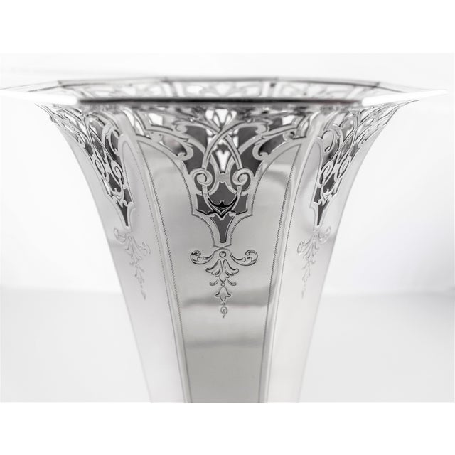 Art Deco Sterling Reticulated Vase For Sale - Image 3 of 7