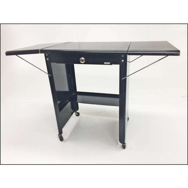 1960s Vintage Industrial Black Typewriter Table With Double Drop Leaf by Cole Steel For Sale - Image 5 of 13