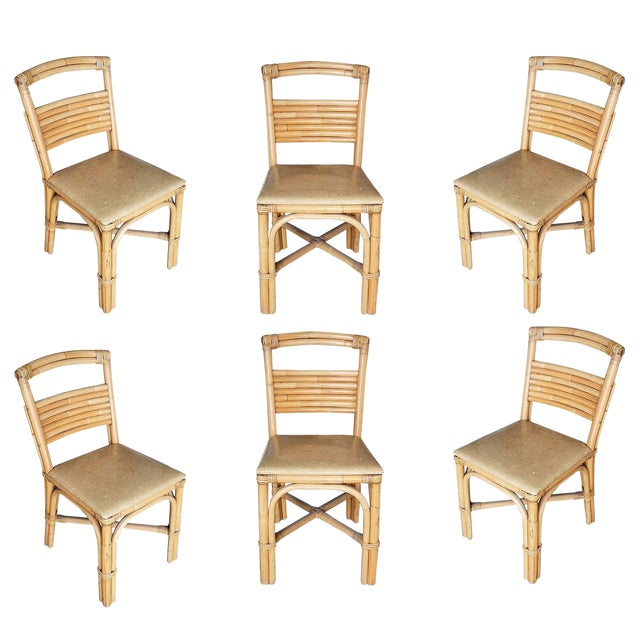Restored Slat Legs and Back Rattan Dining Chair, Set of Six For Sale