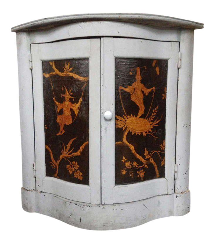 Corner Cabinet With Chinoiserie Decorations For Sale
