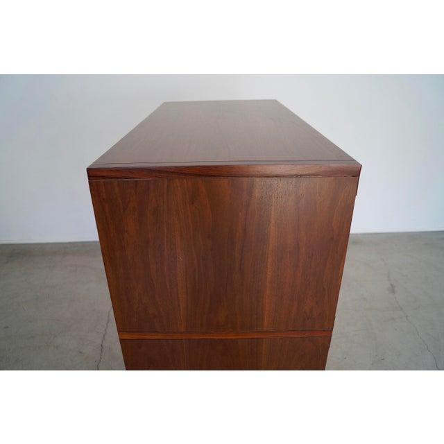 Hollywood Regency Walnut Rosewood Campaign Dresser For Sale - Image 10 of 13