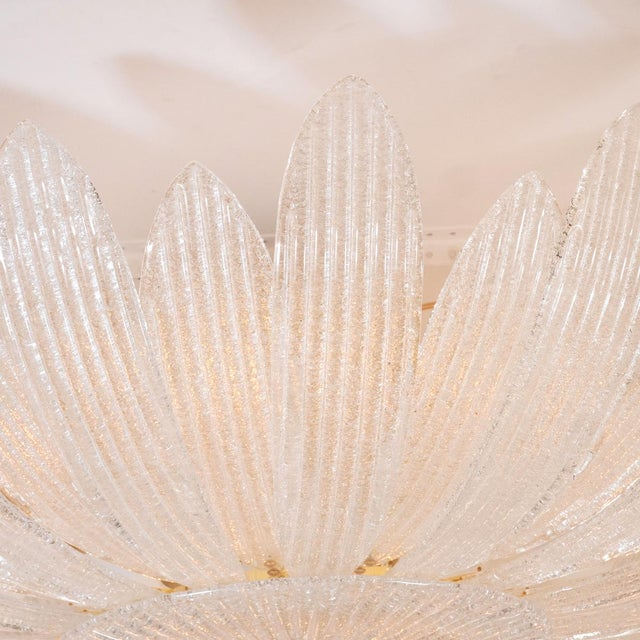 Mid-Century Modern Textured Glass Foliate Form Chandelier For Sale - Image 3 of 5