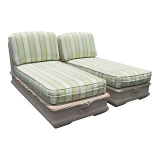 Fiberglass Lounge Chaise Chairs With Cushions - a Pair For Sale
