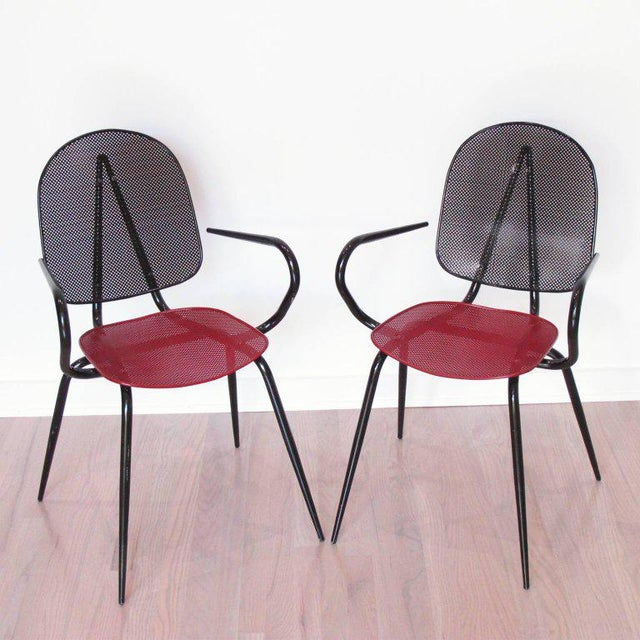 1950s Manner of Mathieu Mategot Black and Red Perforated Metal Armchairs For Sale - Image 5 of 11