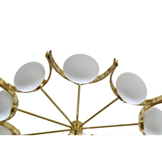Italian Modern Round Brass and Ten Opaline Glass Globe Chandelier For Sale - Image 4 of 9