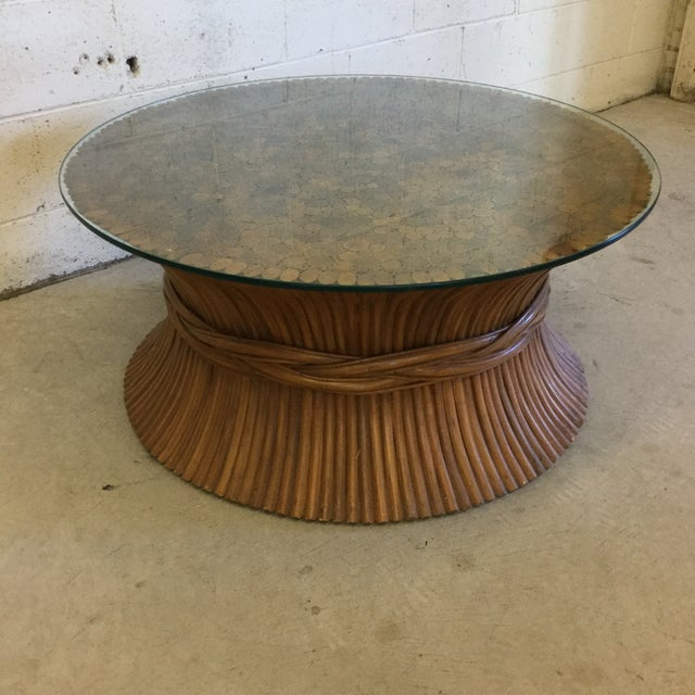 Asian Round Sheaf of Wheat Bamboo Coffee Table by McGuire For Sale - Image 3 of 10