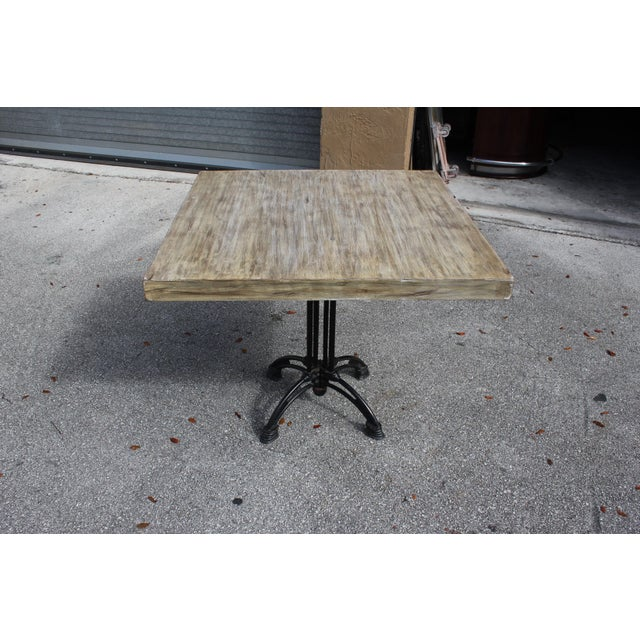 1920s French Country Cast Iron Base Walnut Top Dining / Bistro Table For Sale - Image 13 of 13