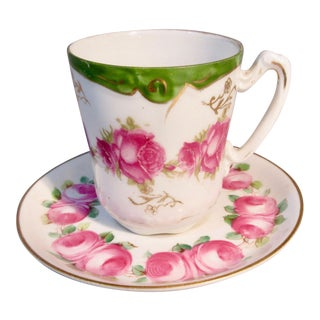 1832 Pointons Demi Tasse Cup & Saucer Hand Painted in Ovingtons Roses Pattern For Sale