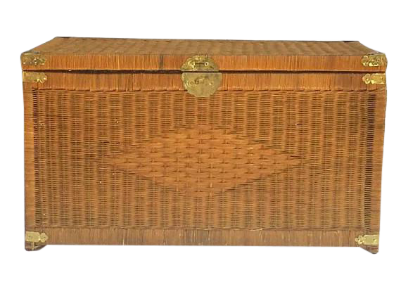 Top Vintage Rattan Trunk Wicker Chest Brass Hardware Bohemian Coffee  XH46
