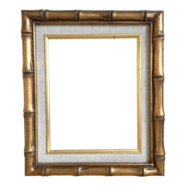 Gold Bamboo & Linen Matted Frame, 8x10, Vintage | Chairish