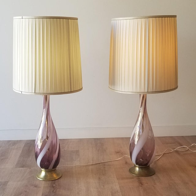 Amethyst Murano Glass Table Lamps - a Pair For Sale - Image 12 of 13