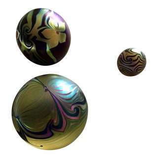 1970s Vintage Art Glass Paperweights - Set of 3 For Sale