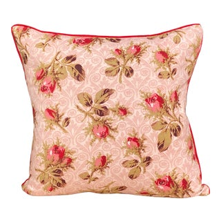 19th C. French Floral Print Pillow For Sale