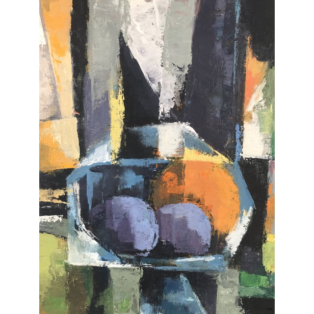 1960s 1960s Vintage Lewis Adler Original Oil on Canvas Cubist Still Life Painting For Sale - Image 5 of 7