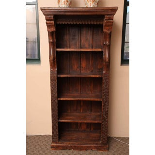 Tall Carved Wood Open Bookcase With Shelves From the Island of Java Preview