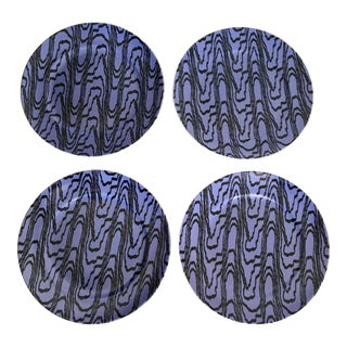 Contemporary Designer Porcelain Salad Plates - Set of 4 For Sale