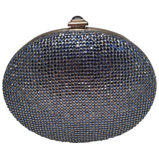 Judith Leiber Blue Crystal Minaudiere Evening Bag Clutch For Sale