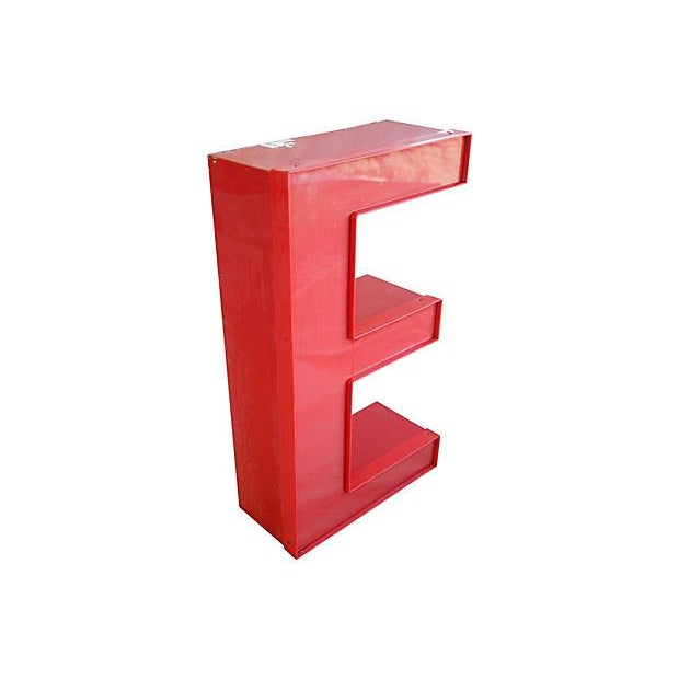 "Large 16"" Salvaged Red Marquee Storefront Letter E - Image 2 of 3"