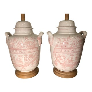 Pair of Vintage Italian Pink Faience Pottery Apothecary Jar Lamps