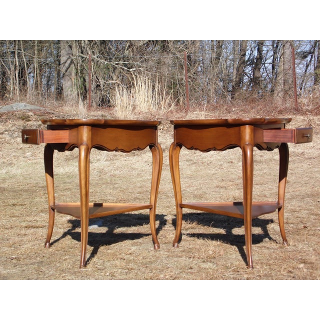 Vintage French Style Leather Top Triangle End Tables - A Pair For Sale - Image 4 of 12