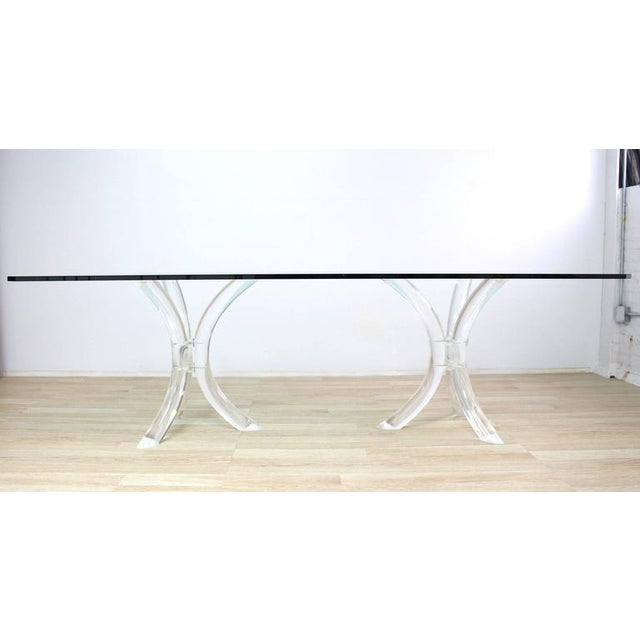 Glass Large Glass Top Conference Table on Lucite Tusks Bases For Sale - Image 7 of 7