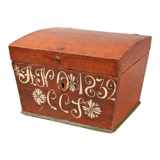 Antique Upsala Swedish Marriage Trunk / Box For Sale