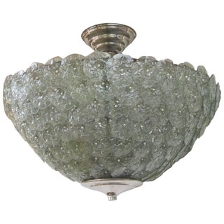 Large Handblown Murano Floral Green Pendant Light For Sale