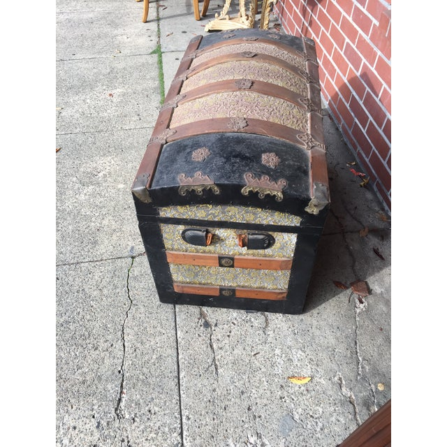 Antique Dome Top Trunk with amazing interior For Sale - Image 10 of 11