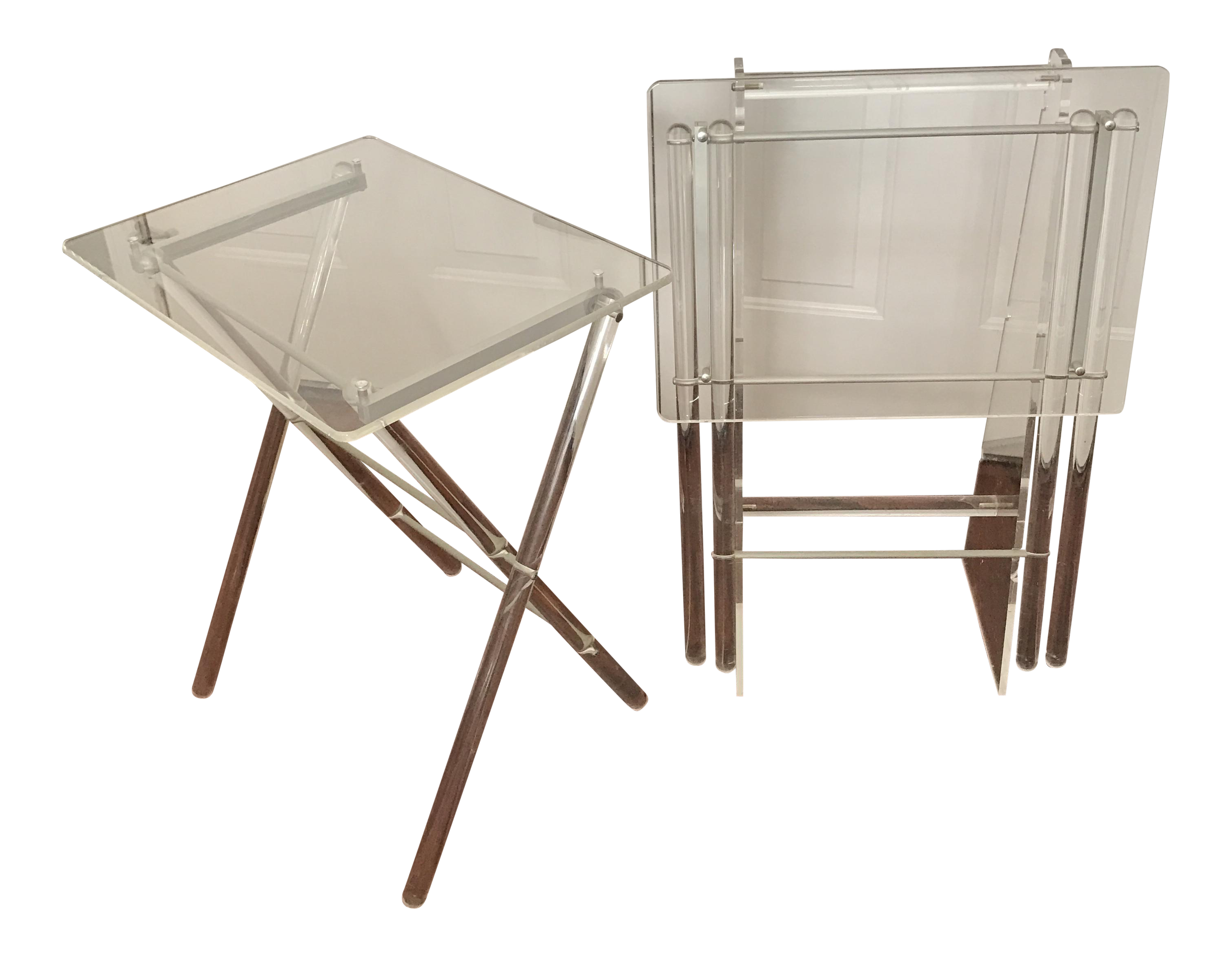 Elegant Mid Century Lucite TV Tray Tables U0026 Stand