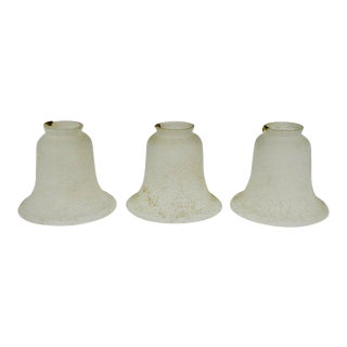 Vintage French Bell Shaped Glass Shades - Set of 3 For Sale