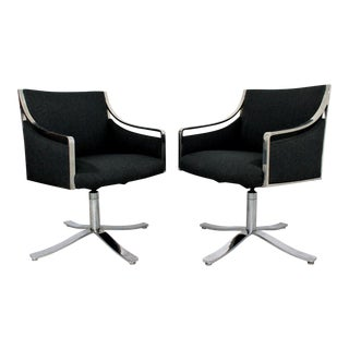 1970s Mid Century Modern Bert England Chrome Swivel Lounge Chairs - a Pair For Sale