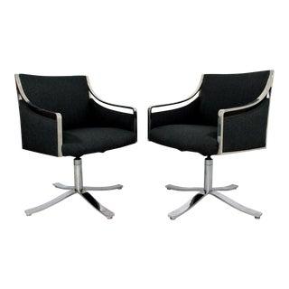 1970s Mid Century Modern Bert England Chrome Swivel Lounge Chairs - a Pair