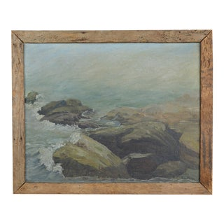 "Mid 20th Century Oil Painting ""Ocean Point in a Fog"" by Lillian F. Eaton For Sale"
