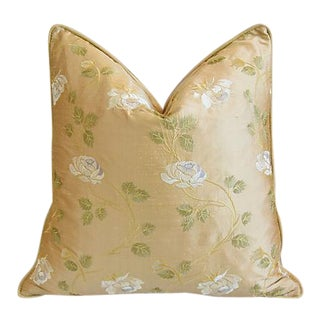 """24"""" Custom Tailored Embroidered White Rose Silk Feather/Down Pillow For Sale"""