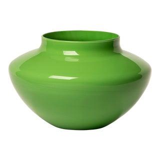 Cenedese Opaline Murano Glass Green Vase For Sale
