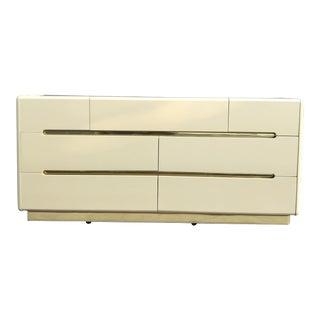 1980s Lane Postmodern Ivory & Gold Dresser For Sale
