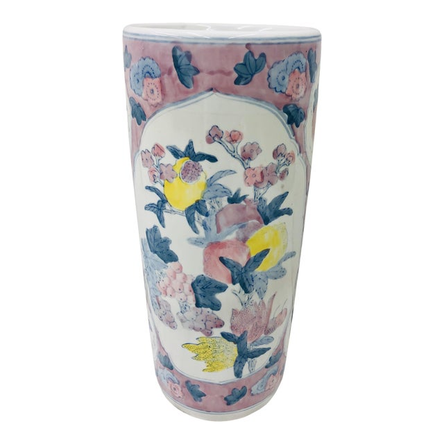 Vintage Painted Ceramic Umbrella Stand For Sale