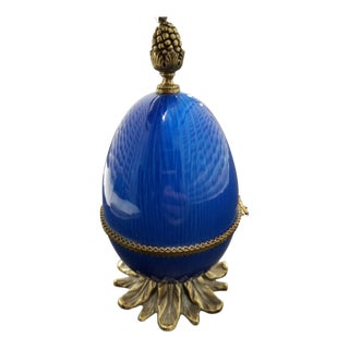 Evan's Blue Egg-Shaped Hand-Enameled Lighter With Gold Accents For Sale