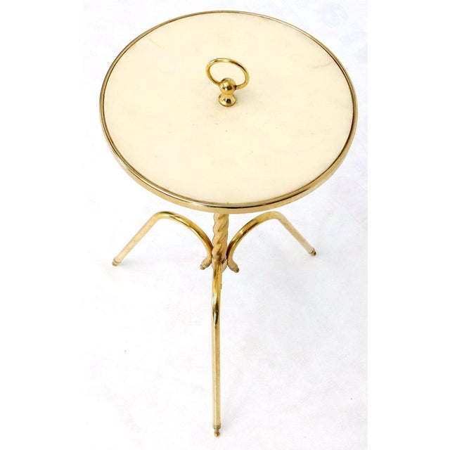 Fine Solid Brass Profile With Onyx Top Side End Serving Accent Table, Italy For Sale In New York - Image 6 of 11