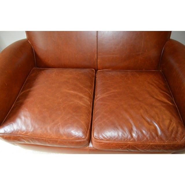 Animal Skin Restoration Hardware Leather Loveseat For Sale - Image 7 of 8