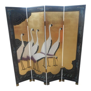 Stunning Folding Black Lacquer Chinoiserie Screen / Room Divider For Sale