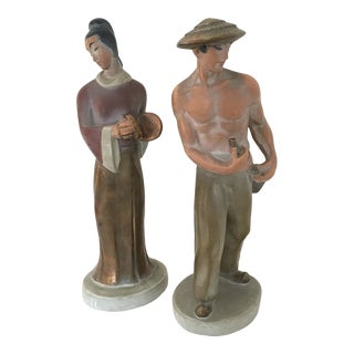 1960s Mid Century Plaster Cast Asian Figures - a Pair For Sale
