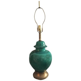 Mid Century Asian Ginger Jar Lamp - Green