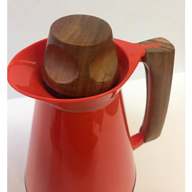 Red Mid-Century Modern Carafe With Teak Accents For Sale - Image 8 of 10