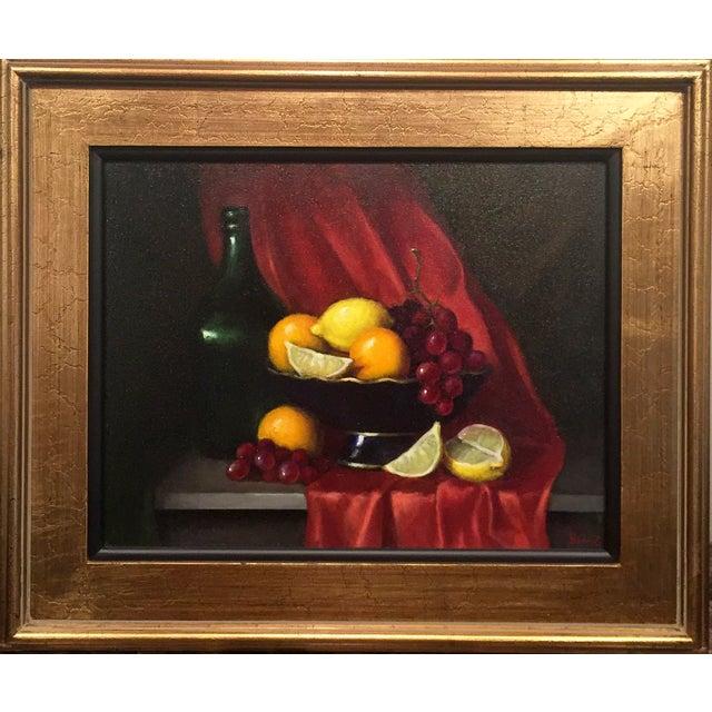 Fruit Bowl & Green Bottle Framed Still Life For Sale