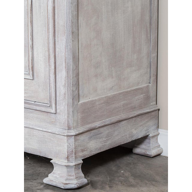 Mid 19th Century Antique French Painted Oak Louis Philippe Buffet a Deux Corps Cabinet For Sale - Image 9 of 11